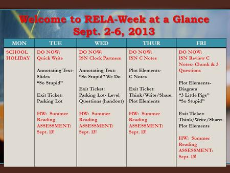 Welcome to RELA-Week at a Glance Sept. 2-6, 2013 MONTUEWEDTHURFRI SCHOOL HOLIDAY DO NOW: Quick Write Annotating Text- Slides So Stupid Exit Ticket: Parking.