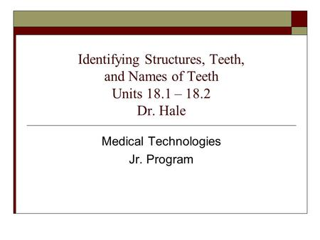 Medical Technologies Jr. Program