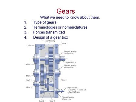 Gears What we need to Know about them. 1.Type of gears 2.Terminologies or nomenclatures 3.Forces transmitted 4.Design of a gear box.