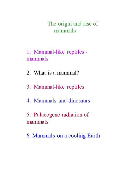 The origin and rise of mammals 1. Mammal-like reptiles - mammals 2. What is a mammal? 3. Mammal-like reptiles 4. Mammals and dinosaurs 5. Palaeogene radiation.