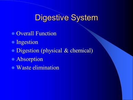 Digestive System Overall Function Ingestion