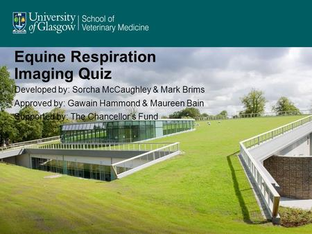 Equine Respiration Imaging Quiz Developed by: Sorcha McCaughley & Mark Brims Approved by: Gawain Hammond & Maureen Bain Supported by: The Chancellors Fund.