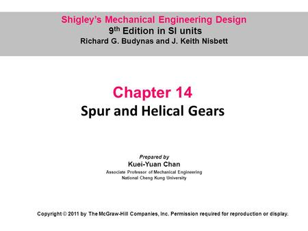 Chapter 14 Spur and Helical Gears