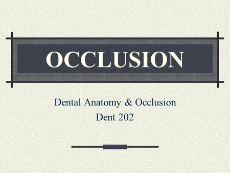 OCCLUSION Dental Anatomy & Occlusion Dent 202. Occlusion Definition The act of closure or being closed A static morphological tooth contact relationship.