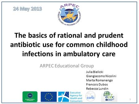 The basics of rational and prudent antibiotic use for common childhood infections in ambulatory care ARPEC Educational Group 1 Julia Bielicki Giangiacomo.
