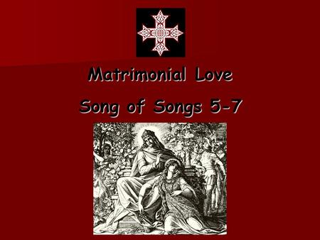 Matrimonial Love Song of Songs 5-7. She begins to describe the Beloved 5:10 My beloved is white and ruddy 5:10 My beloved is white and ruddy White.