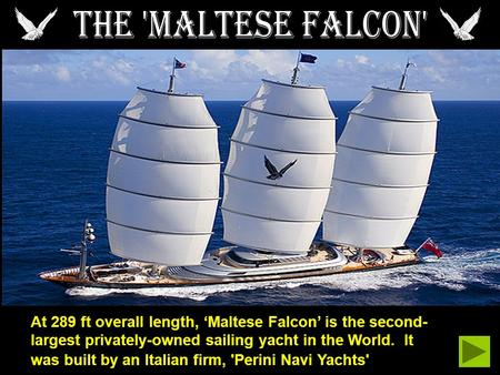 At 289 ft overall length, Maltese Falcon is the second- largest privately-owned sailing yacht in the World. It was built by an Italian firm, 'Perini Navi.