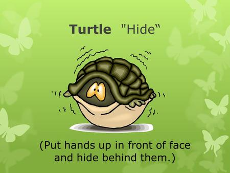 Turtle Hide (Put hands up in front of face and hide behind them.)