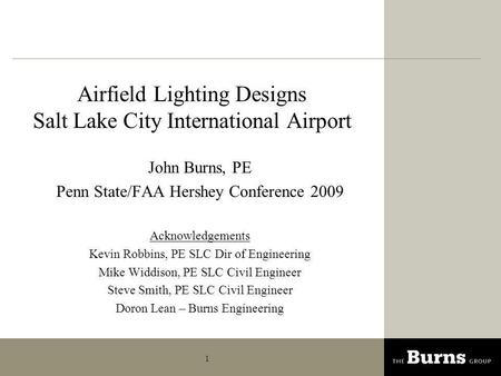 Airfield Lighting Designs Salt Lake City International Airport