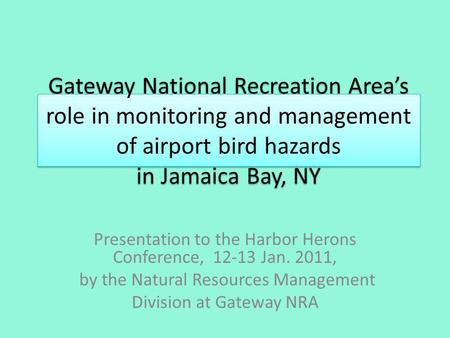 Gateway National Recreation Areas role in monitoring and management of airport bird hazards in Jamaica Bay, NY Presentation to the Harbor Herons Conference,