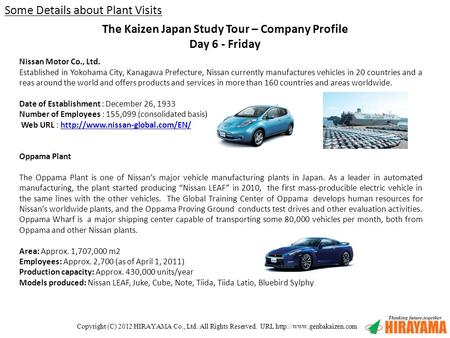 Copyright (C) 2012 HIRAYAMA Co., Ltd. All Rights Reserved. URL  Nissan Motor Co., Ltd. Established in Yokohama City, Kanagawa.