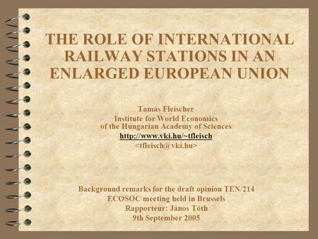 THE ROLE OF INTERNATIONAL RAILWAY STATIONS IN AN ENLARGED EUROPEAN UNION Tamás Fleischer Institute for World Economics of the Hungarian Academy of Sciences.