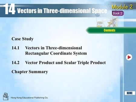 14.1Vectors in Three-dimensional Rectangular Coordinate System 14.2Vector Product and Scalar Triple Product Chapter Summary Case Study Vectors in Three-dimensional.