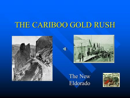 THE CARIBOO GOLD RUSH The New Eldorado. GOLD WAS DISCOVERED 1857 – First Nations people on the Thompson River found nuggets and brought them to the HBC.