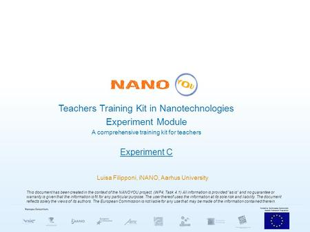 Teachers Training Kit in Nanotechnologies Experiment Module