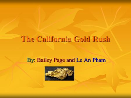 The California Gold Rush By: Bailey Page and Le An Pham.
