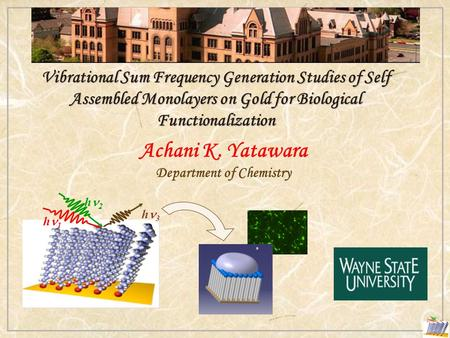 Vibrational Sum Frequency Generation Studies of Self Assembled Monolayers on Gold for Biological Functionalization Achani K. Yatawara Department of Chemistry.