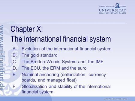 Chapter X: The international financial system