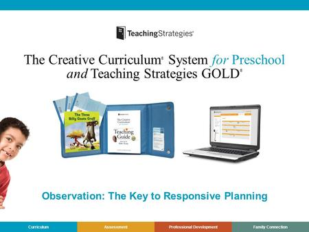 CurriculumAssessmentProfessional DevelopmentFamily Connection The Creative Curriculum ® System for Preschool and Teaching Strategies GOLD ® Observation: