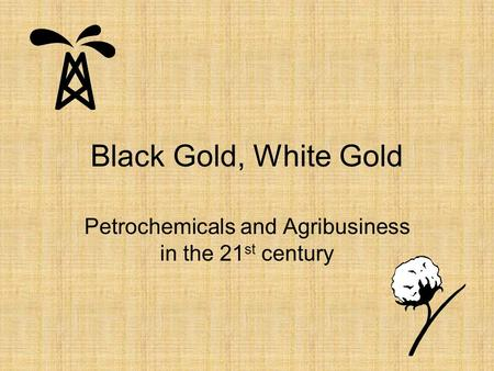 Black Gold, White Gold Petrochemicals and Agribusiness in the 21 st century.
