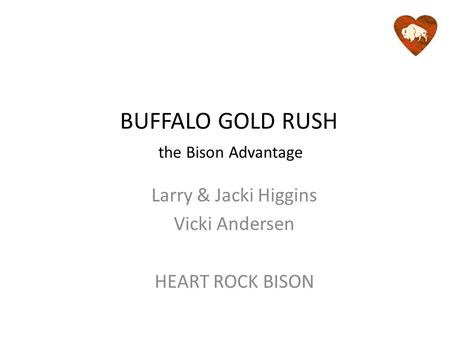 BUFFALO GOLD RUSH Larry & Jacki Higgins Vicki Andersen HEART ROCK BISON the Bison Advantage.