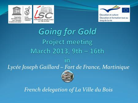 Going for Gold Project meeting March 2013, 9th – 16th in