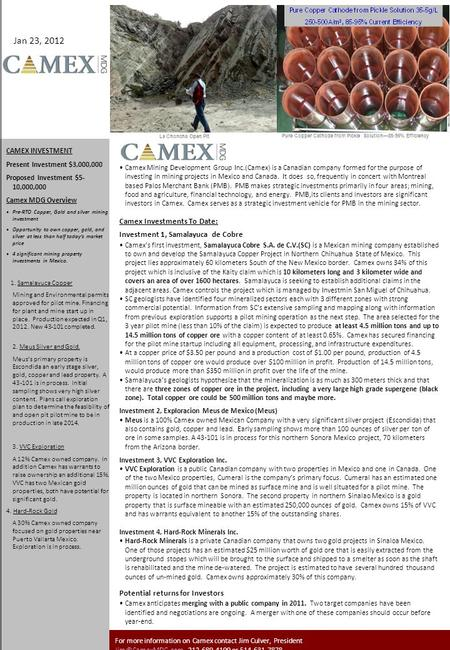 MDG CAMEX INVESTMENT Present Investment $3,000,000 Proposed Investment $5- 10,000,000 Camex MDG Overview Pre-RTO Copper, Gold and silver mining investment.