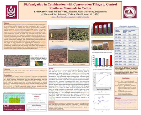 Biofumigation in Combination with Conservation Tillage to Control Reniform Nematode in Cotton Ernst Cebert* and Rufina Ward, Alabama A&M University, Department.