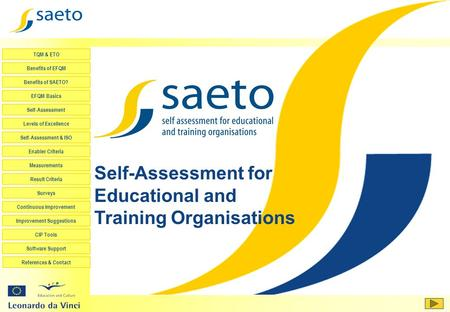 <strong>Self</strong>-Assessment for Educational and Training Organisations