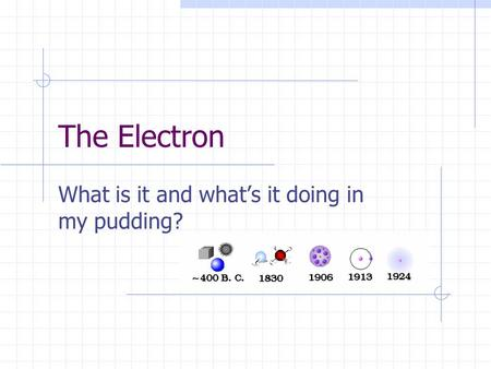 The Electron What is it and whats it doing in my pudding?