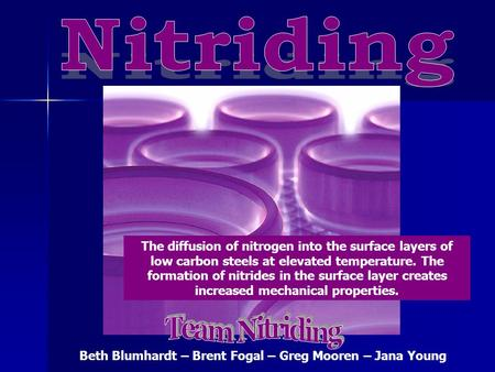 The diffusion of nitrogen into the surface layers of low carbon steels at elevated temperature. The formation of nitrides in the surface layer creates.