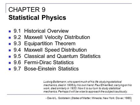 CHAPTER 9 Statistical Physics