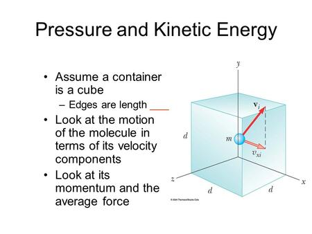 Pressure and Kinetic Energy Assume a container is a cube –Edges are length ____ Look at the motion of the molecule in terms of its velocity components.