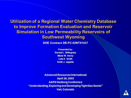 Utilization of a Regional Water Chemistry Database to Improve Formation Evaluation and Reservoir Simulation in Low Permeability Reservoirs of Southwest.
