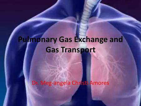 Pulmonary Gas Exchange and Gas Transport Dr. Meg-angela Christi Amores.