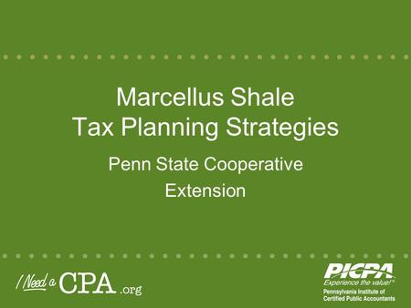 Marcellus Shale Tax Planning Strategies Penn State Cooperative Extension.
