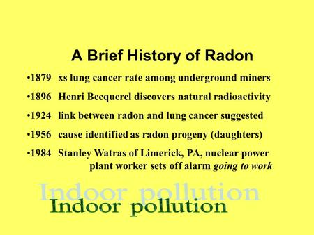 A Brief History of Radon 1879xs lung cancer rate among underground miners 1896Henri Becquerel discovers natural radioactivity 1924link between radon and.