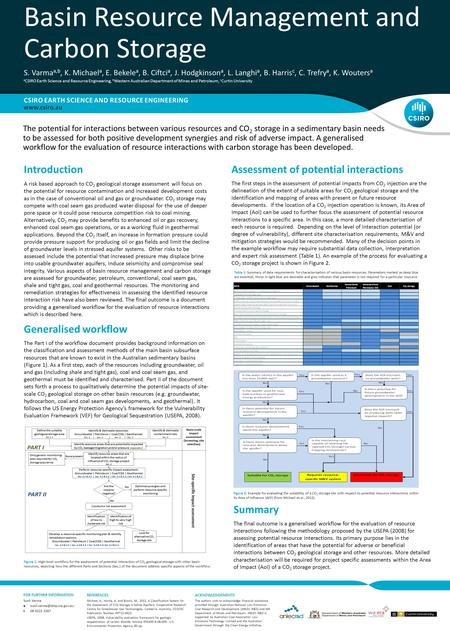 FOR FURTHER INFORMATION Figure 1: High-level workflow for the assessment of potential interaction of CO 2 geological storage with other basin resources,