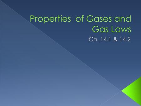 Gases are easily compressed Gases can expand Large amount of space between particles.