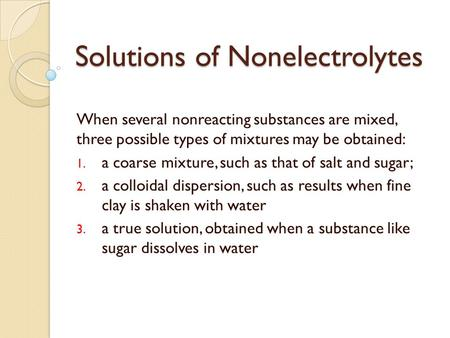 Solutions of Nonelectrolytes
