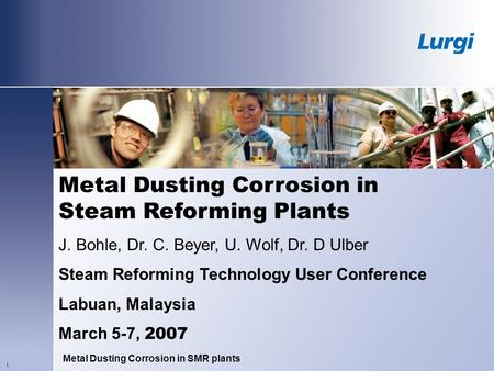 Metal Dusting Corrosion in Steam Reforming Plants
