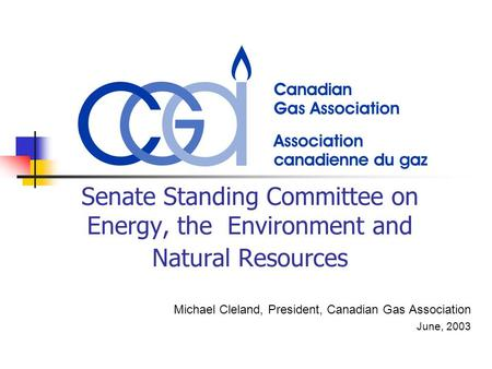 Senate Standing Committee on Energy, the Environment and Natural Resources Michael Cleland, President, Canadian Gas Association June, 2003.