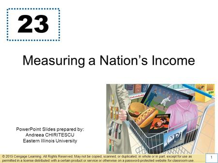 PowerPoint Slides prepared by: Andreea CHIRITESCU Eastern Illinois University 23 Measuring a Nations Income © 2015 Cengage Learning. All Rights Reserved.
