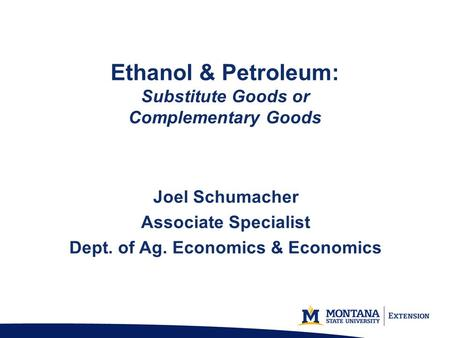 Ethanol & Petroleum: Substitute Goods or Complementary Goods