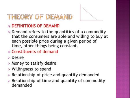 THEORY OF DEMAND DEFINITIONS OF DEMAND