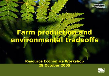Progress report Farm production and environmental tradeoffs Resource Economics Workshop 28 October 2005.