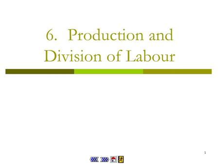 1 6.Production and Division of Labour 2 Chapter 6 : main menu 6.1Production Concept Explorer 6.1 Theory in Life 6.1 Progress Checkpoint 1 6.2Division.