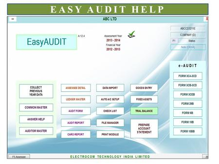 EASY AUDIT HELP. Click here to collect previous year data This is common master. Details entered here can be used in all assessee. Here you can prepare.