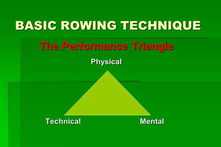 BASIC ROWING TECHNIQUE The Performance Triangle Physical Technical Mental Technical Mental.