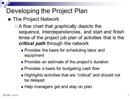 Developing the Project Plan The Project Network A flow chart that graphically depicts the sequence, interdependencies, and start and finish times of the.